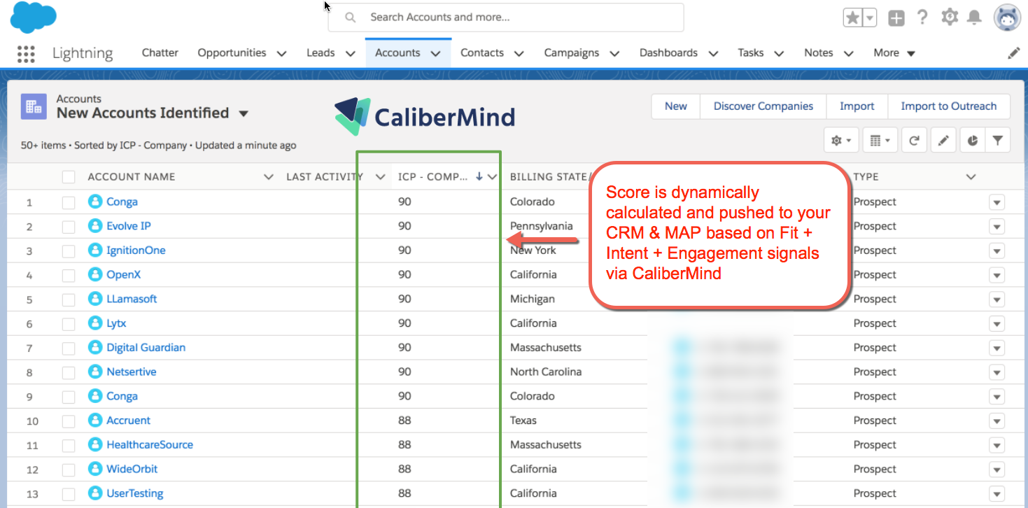 CaliberMind Account Score